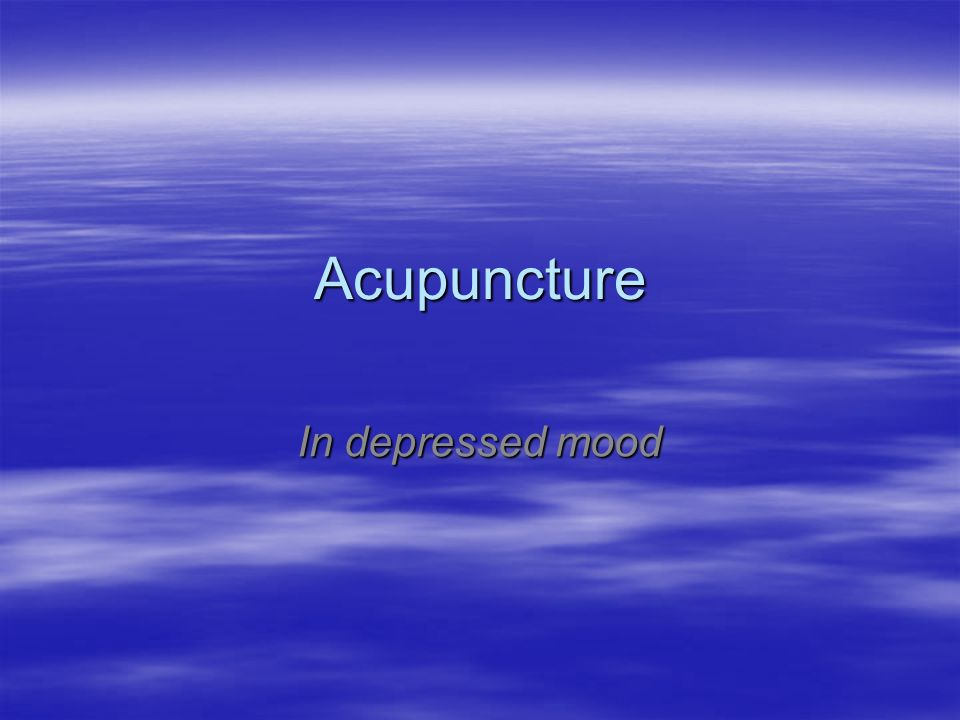 Acupuncture In depressed mood