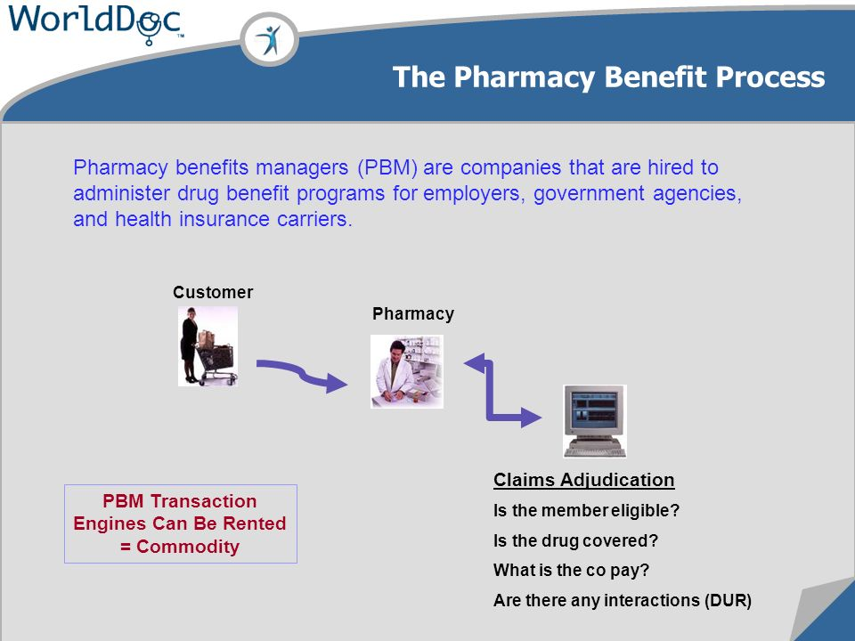 The Pharmacy Benefit Process Customer Pharmacy Pharmacy benefits managers (PBM) are companies that are hired to administer drug benefit programs for employers, government agencies, and health insurance carriers.