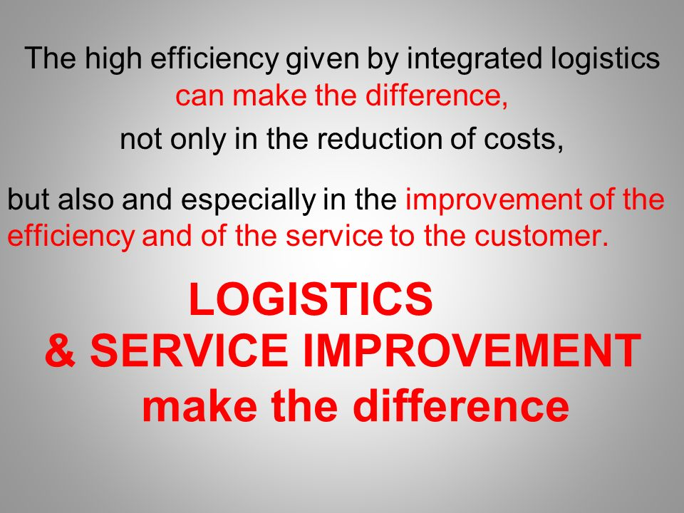 The high efficiency given by integrated logistics can make the difference, not only in the reduction of costs, but also and especially in the improvement of the efficiency and of the service to the customer.
