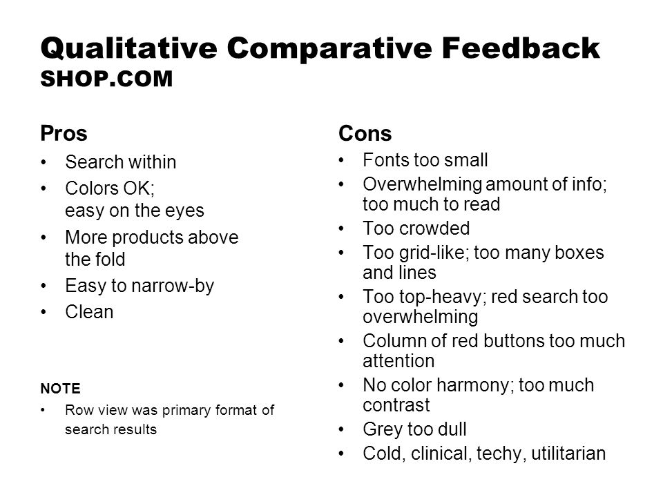 Qualitative Comparative Feedback SHOP.COM Cons Fonts too small Overwhelming amount of info; too much to read Too crowded Too grid-like; too many boxes and lines Too top-heavy; red search too overwhelming Column of red buttons too much attention No color harmony; too much contrast Grey too dull Cold, clinical, techy, utilitarian Pros Search within Colors OK; easy on the eyes More products above the fold Easy to narrow-by Clean NOTE Row view was primary format of search results