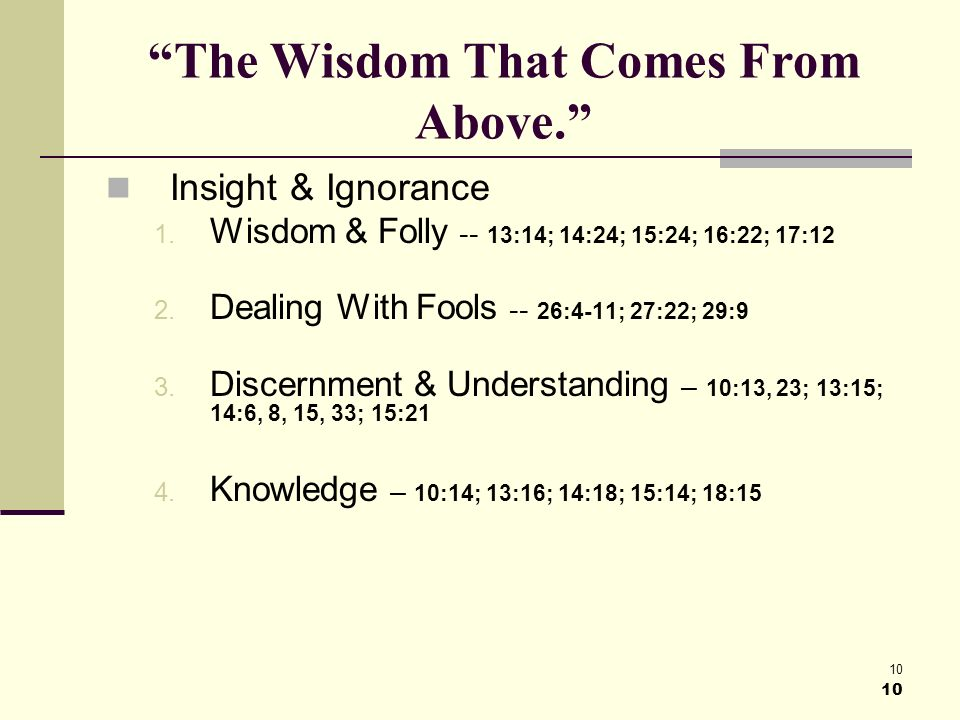 10 The Wisdom That Comes From Above. Insight & Ignorance 1.