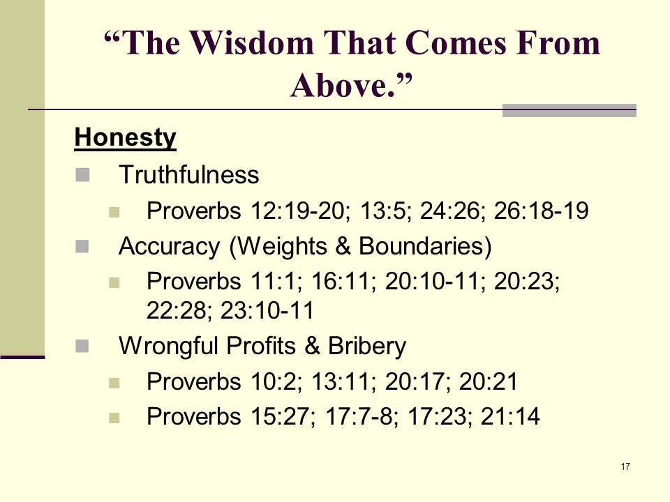 17 The Wisdom That Comes From Above.