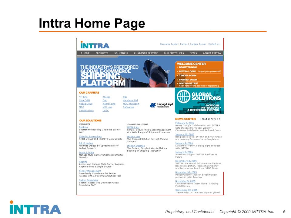 Proprietary and Confidential Copyright © 2005 INTTRA Inc. 8 Inttra Home Page