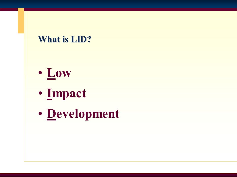 What is LID Low Impact Development