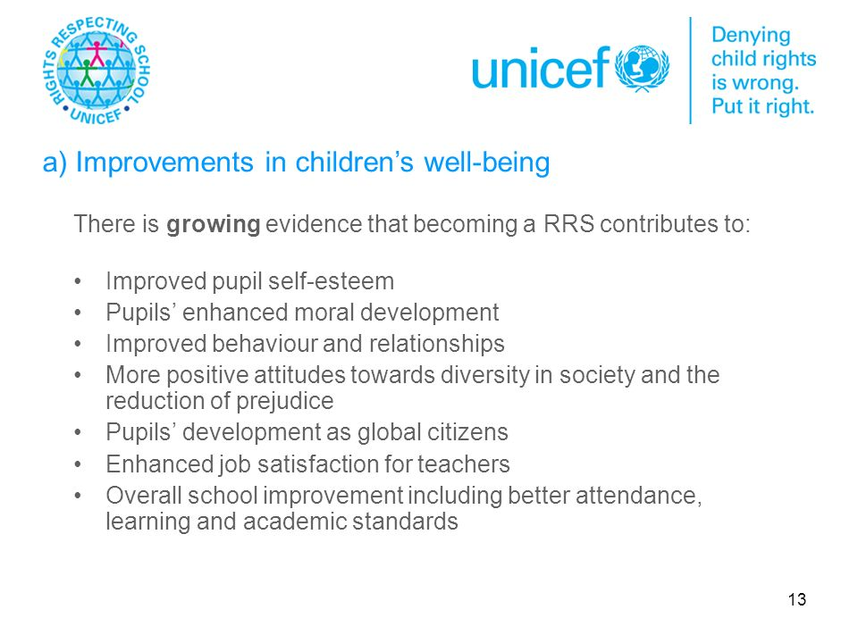 13 There is growing evidence that becoming a RRS contributes to: Improved pupil self-esteem Pupils enhanced moral development Improved behaviour and relationships More positive attitudes towards diversity in society and the reduction of prejudice Pupils development as global citizens Enhanced job satisfaction for teachers Overall school improvement including better attendance, learning and academic standards a) Improvements in childrens well-being