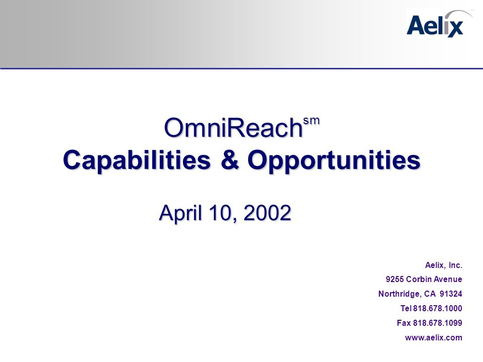 April 10, 2002 Aelix, Inc.