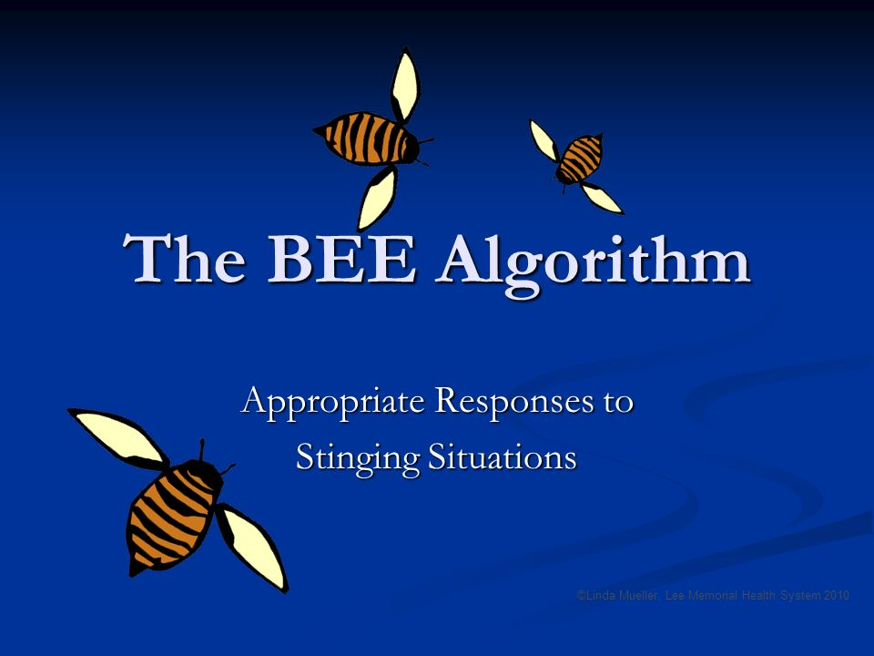 The BEE Algorithm Appropriate Responses to Stinging Situations ©Linda Mueller, Lee Memorial Health System 2010