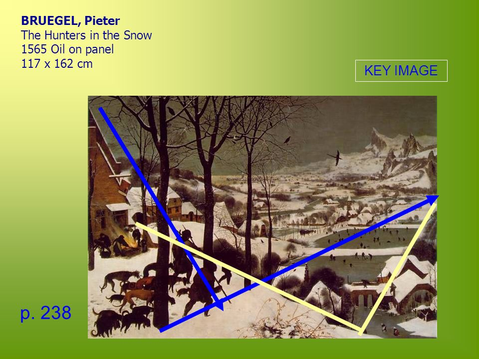 BRUEGEL, Pieter The Hunters in the Snow 1565 Oil on panel 117 x 162 cm p. 238 KEY IMAGE