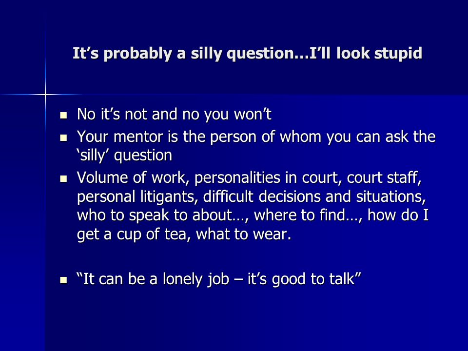 Its probably a silly question…Ill look stupid No its not and no you wont No its not and no you wont Your mentor is the person of whom you can ask the silly question Your mentor is the person of whom you can ask the silly question Volume of work, personalities in court, court staff, personal litigants, difficult decisions and situations, who to speak to about…, where to find…, how do I get a cup of tea, what to wear.