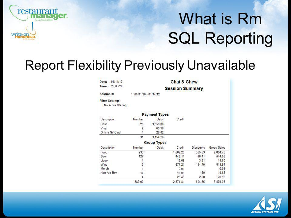 What is Rm SQL Reporting Report Flexibility Previously Unavailable