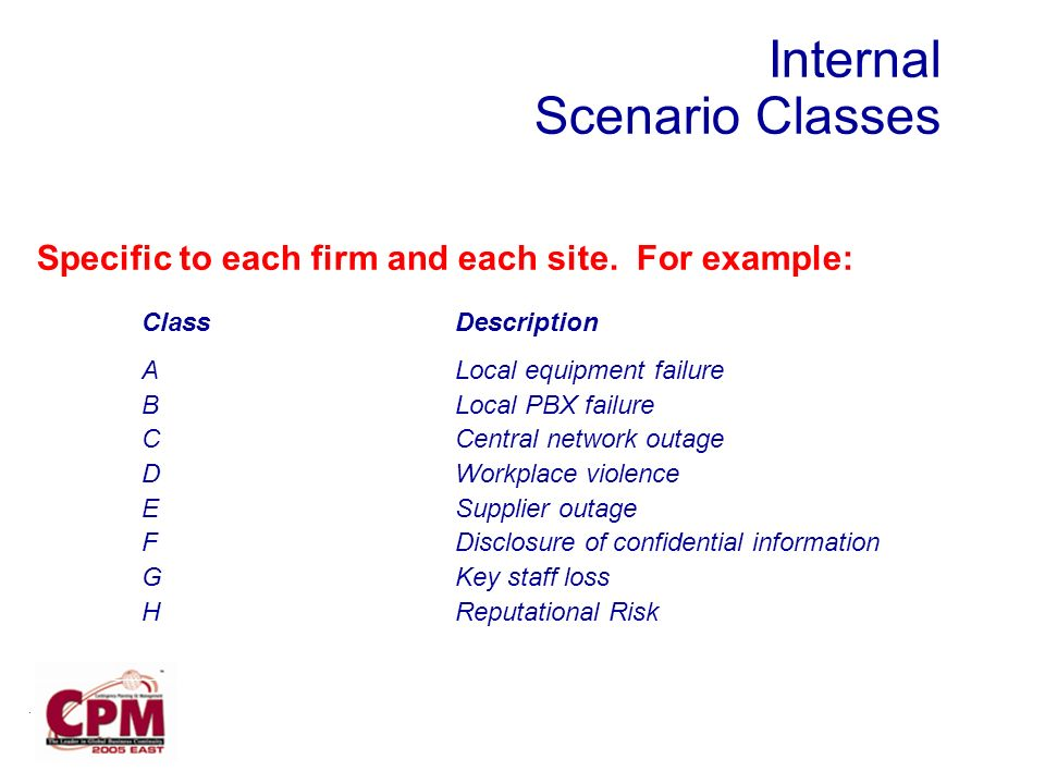 Internal Scenario Classes Specific to each firm and each site.