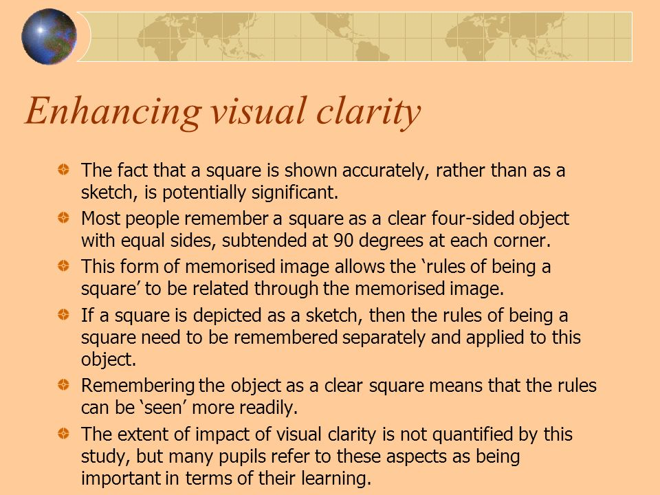 Enhancing visual clarity The fact that a square is shown accurately, rather than as a sketch, is potentially significant.