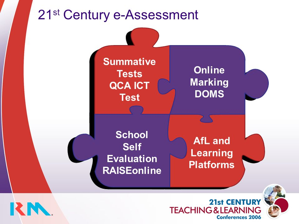 Summative Tests QCA ICT Test Online Marking DOMS 21 st Century e-Assessment School Self Evaluation RAISEonline AfL and Learning Platforms