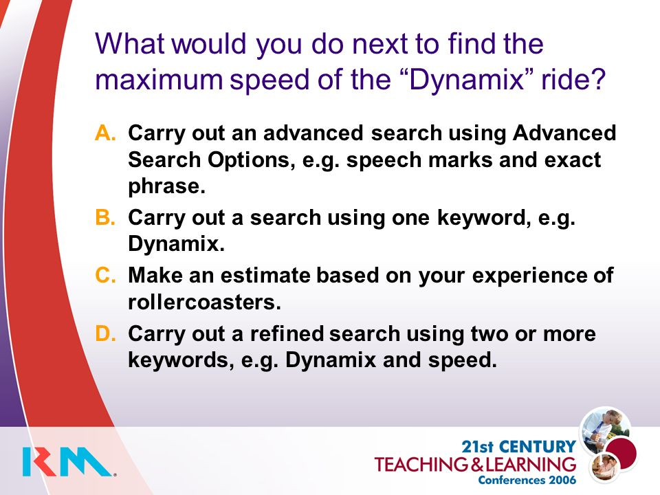 What would you do next to find the maximum speed of the Dynamix ride.