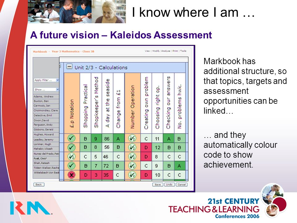 A future vision – Kaleidos Assessment Markbook has additional structure, so that topics, targets and assessment opportunities can be linked… I know where I am … … and they automatically colour code to show achievement.