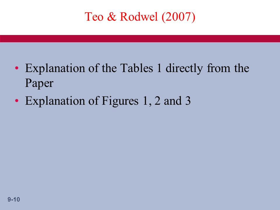 9-10 Teo & Rodwel (2007) Explanation of the Tables 1 directly from the Paper Explanation of Figures 1, 2 and 3