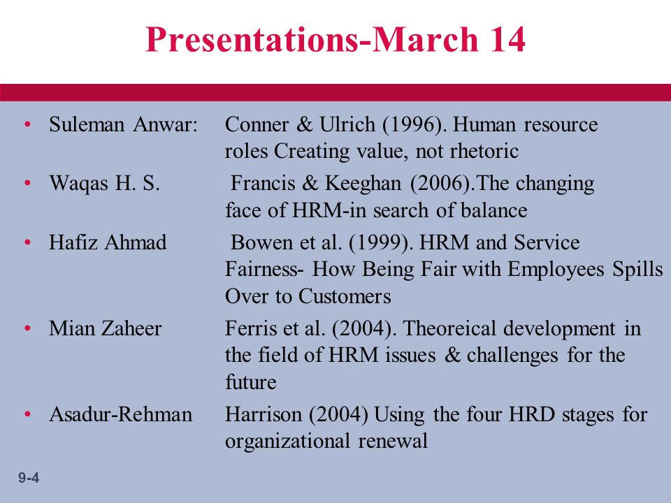 9-4 Presentations-March 14 Suleman Anwar:Conner & Ulrich (1996).