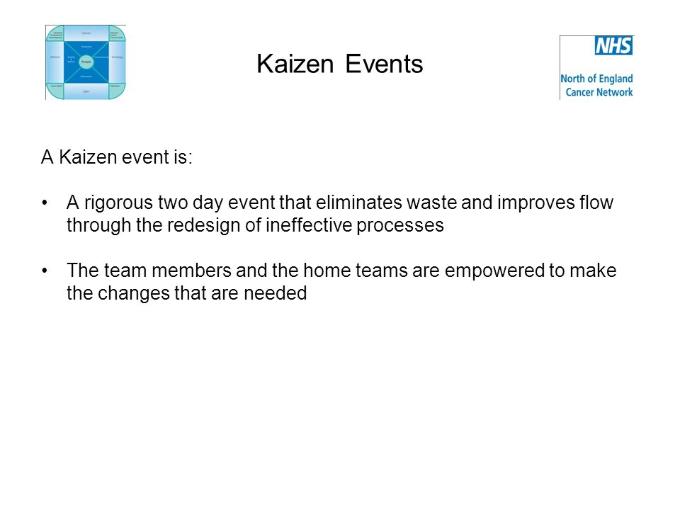 Kaizen Events A Kaizen event is: A rigorous two day event that eliminates waste and improves flow through the redesign of ineffective processes The team members and the home teams are empowered to make the changes that are needed