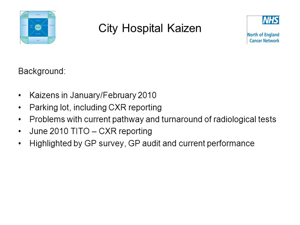 City Hospital Kaizen Background: Kaizens in January/February 2010 Parking lot, including CXR reporting Problems with current pathway and turnaround of radiological tests June 2010 TITO – CXR reporting Highlighted by GP survey, GP audit and current performance
