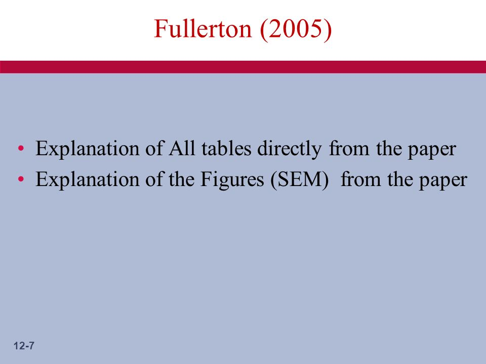 12-7 Fullerton (2005) Explanation of All tables directly from the paper Explanation of the Figures (SEM) from the paper