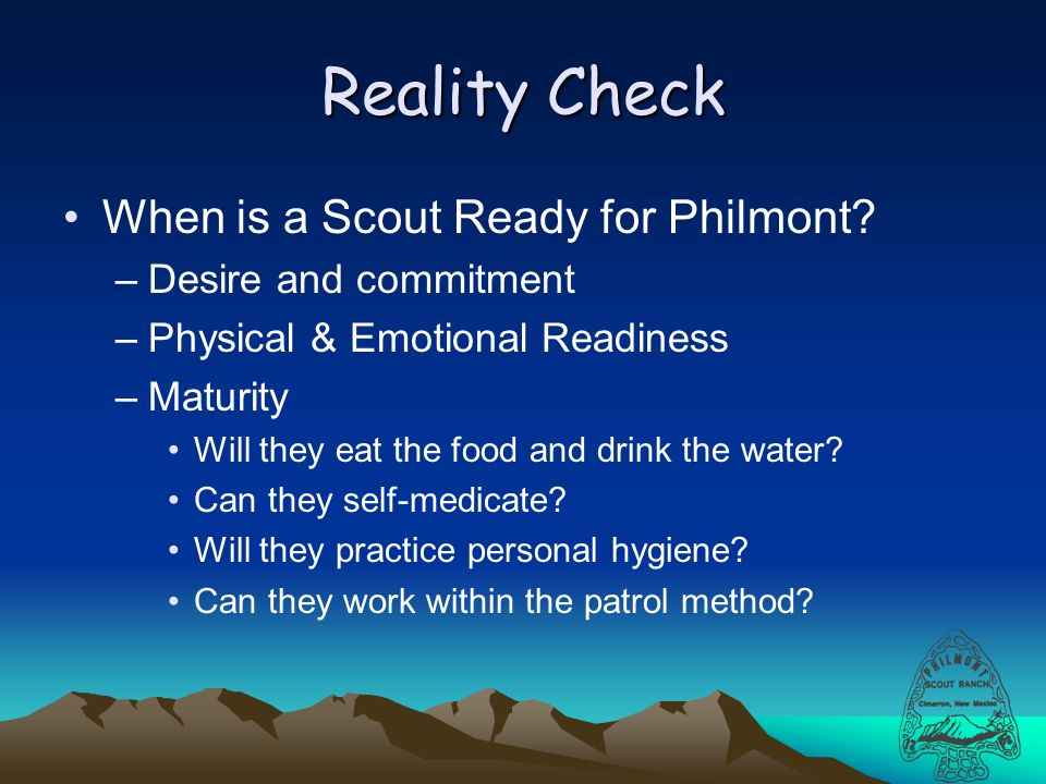 Reality Check When is a Scout Ready for Philmont.