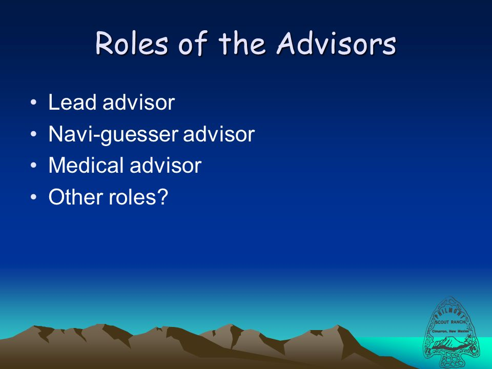 Roles of the Advisors Lead advisor Navi-guesser advisor Medical advisor Other roles