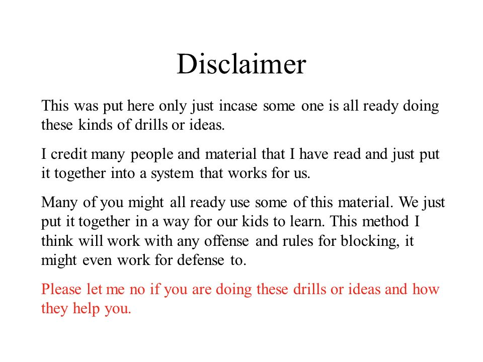 Disclaimer This was put here only just incase some one is all ready doing these kinds of drills or ideas.