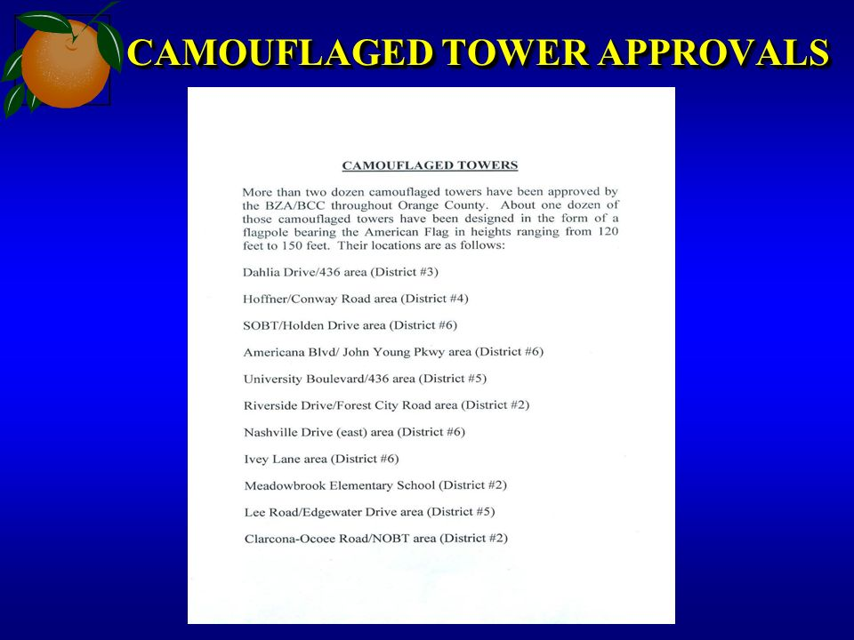 CAMOUFLAGED TOWER APPROVALS
