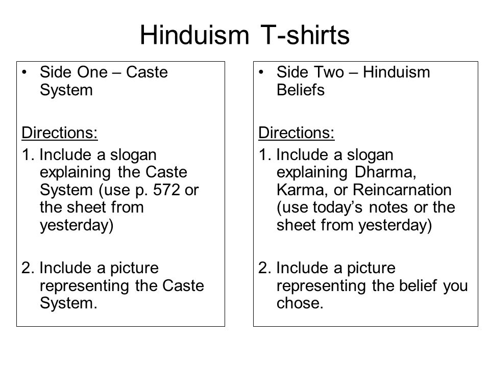 Hinduism T-shirts Side One – Caste System Directions: 1.