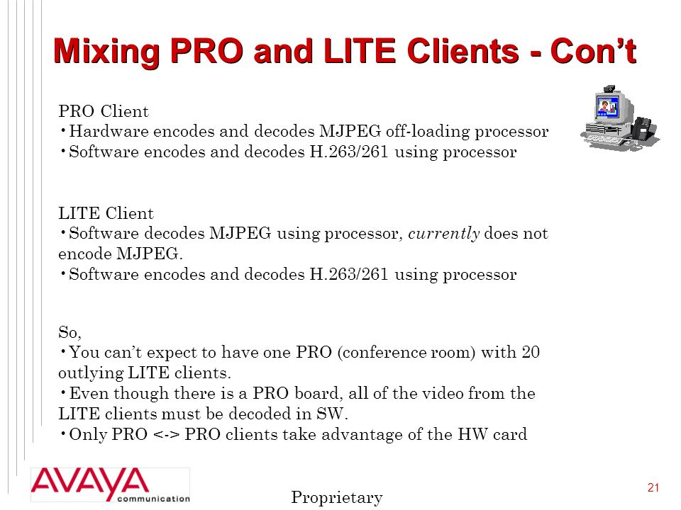 21 Proprietary Mixing PRO and LITE Clients - Cont PRO Client Hardware encodes and decodes MJPEG off-loading processor Software encodes and decodes H.263/261 using processor LITE Client Software decodes MJPEG using processor, currently does not encode MJPEG.