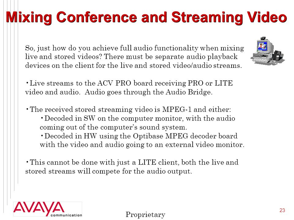 23 Proprietary Mixing Conference and Streaming Video So, just how do you achieve full audio functionality when mixing live and stored videos.