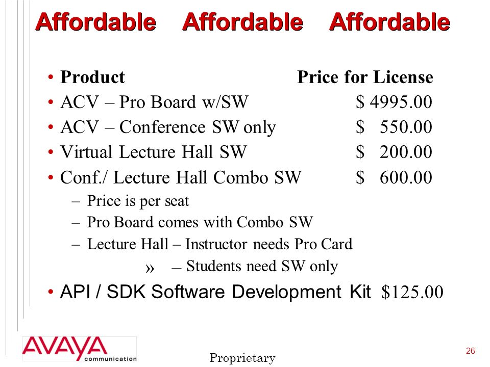 26 Proprietary AffordableAffordableAffordable Product Price for License ACV – Pro Board w/SW $ ACV – Conference SWonly $ Virtual Lecture Hall SW $ Conf./ Lecture Hall Combo SW $ –Price is per seat –Pro Board comes with Combo SW –Lecture Hall – Instructor needs Pro Card » – Students need SW only API / SDK Software Development Kit $125.00