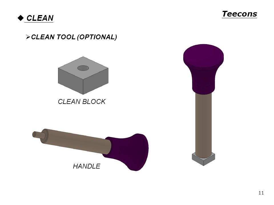 CLEAN CLEAN TOOL (OPTIONAL) CLEAN BLOCK HANDLE Teecons 11