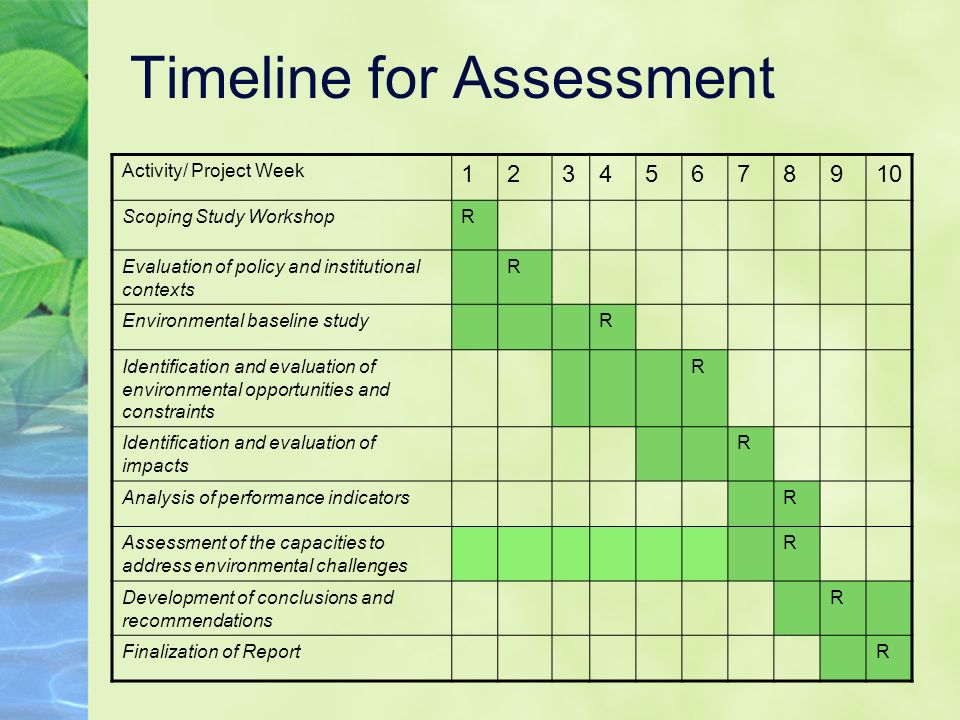 Timeline for Assessment Activity/ Project Week 12345678910 Scoping Study WorkshopR Evaluation of policy and institutional contexts R Environmental baseline studyR Identification and evaluation of environmental opportunities and constraints R Identification and evaluation of impacts R Analysis of performance indicatorsR Assessment of the capacities to address environmental challenges R Development of conclusions and recommendations R Finalization of ReportR