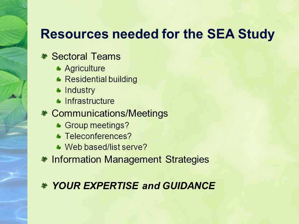 Resources needed for the SEA Study Sectoral Teams Agriculture Residential building Industry Infrastructure Communications/Meetings Group meetings.
