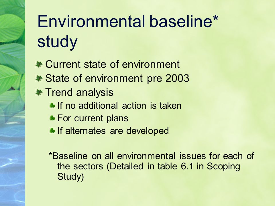 Environmental baseline* study Current state of environment State of environment pre 2003 Trend analysis If no additional action is taken For current plans If alternates are developed *Baseline on all environmental issues for each of the sectors (Detailed in table 6.1 in Scoping Study)