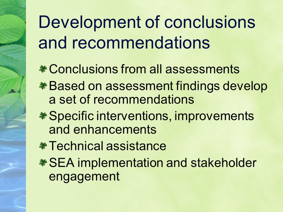 Development of conclusions and recommendations Conclusions from all assessments Based on assessment findings develop a set of recommendations Specific interventions, improvements and enhancements Technical assistance SEA implementation and stakeholder engagement
