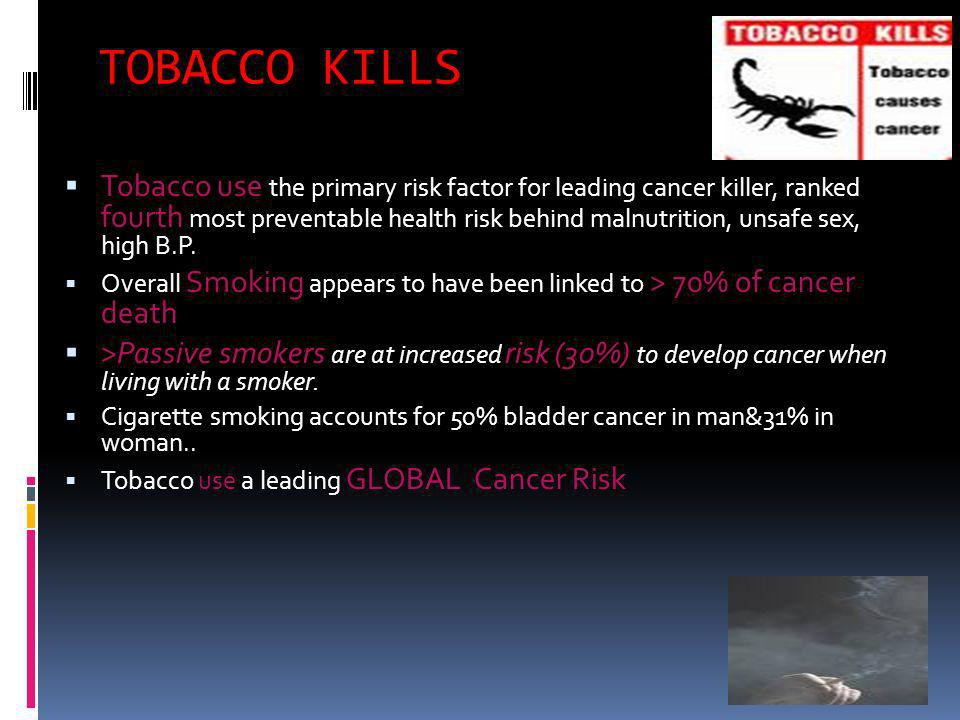 TOBACCO KILLS Tobacco use the primary risk factor for leading cancer killer, ranked fourth most preventable health risk behind malnutrition, unsafe sex, high B.P.