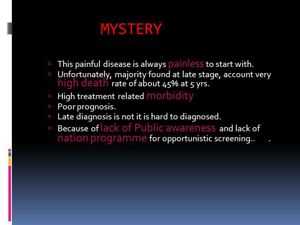 MYSTERY This painful disease is always painless to start with.