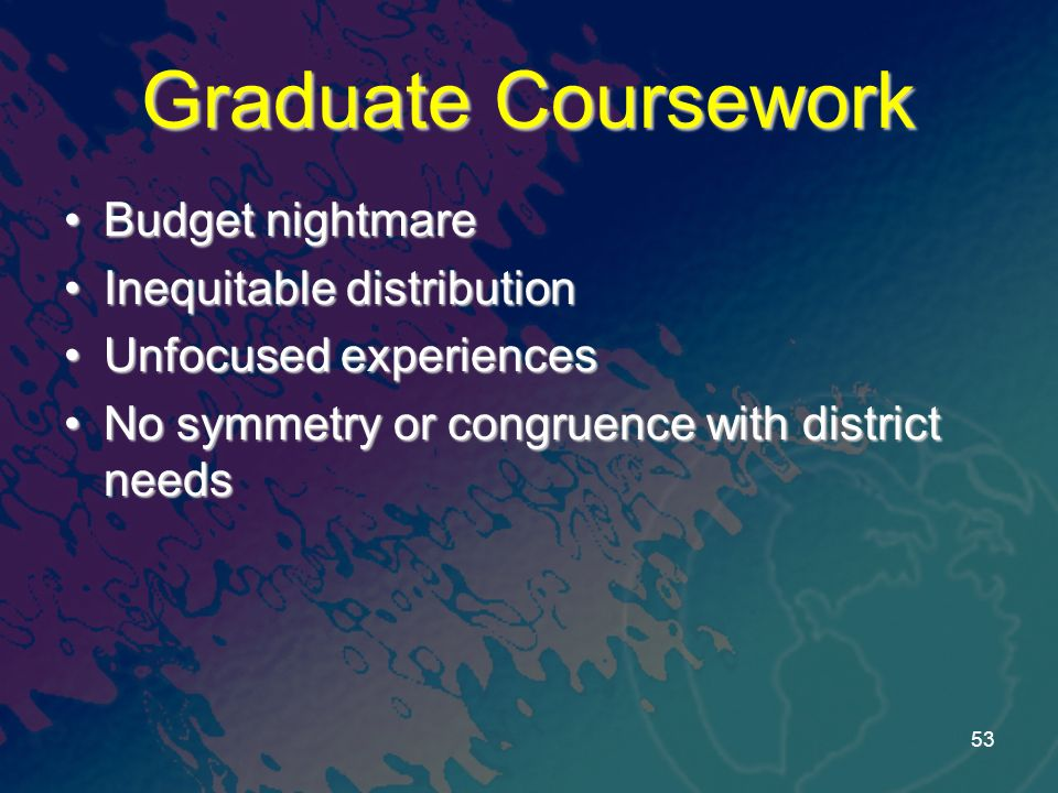 Graduate Coursework Budget nightmareBudget nightmare Inequitable distributionInequitable distribution Unfocused experiencesUnfocused experiences No symmetry or congruence with district needsNo symmetry or congruence with district needs 53