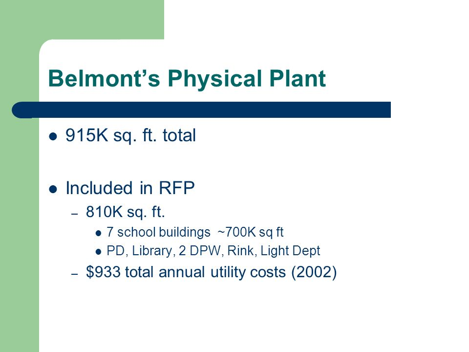 Belmonts Physical Plant 915K sq. ft. total Included in RFP – 810K sq.