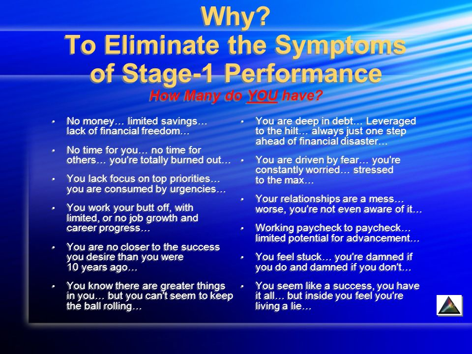 Why. To Eliminate the Symptoms of Stage-1 Performance How Many do YOU have.