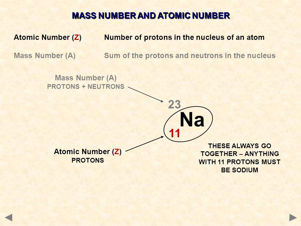 MASS NUMBER AND ATOMIC NUMBER Atomic Number (Z)Number of protons in the nucleus of an atom Mass Number (A) Sum of the protons and neutrons in the nucleus Na Mass Number (A) PROTONS + NEUTRONS Atomic Number (Z) PROTONS THESE ALWAYS GO TOGETHER – ANYTHING WITH 11 PROTONS MUST BE SODIUM