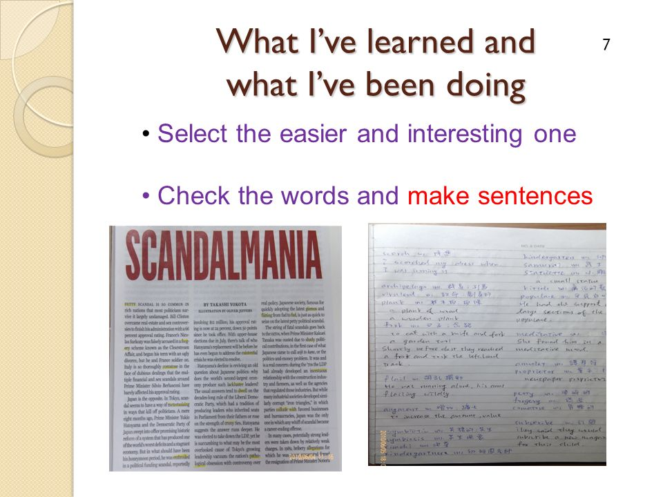 What Ive learned and what Ive been doing Select the easier and interesting one Check the words and make sentences 7