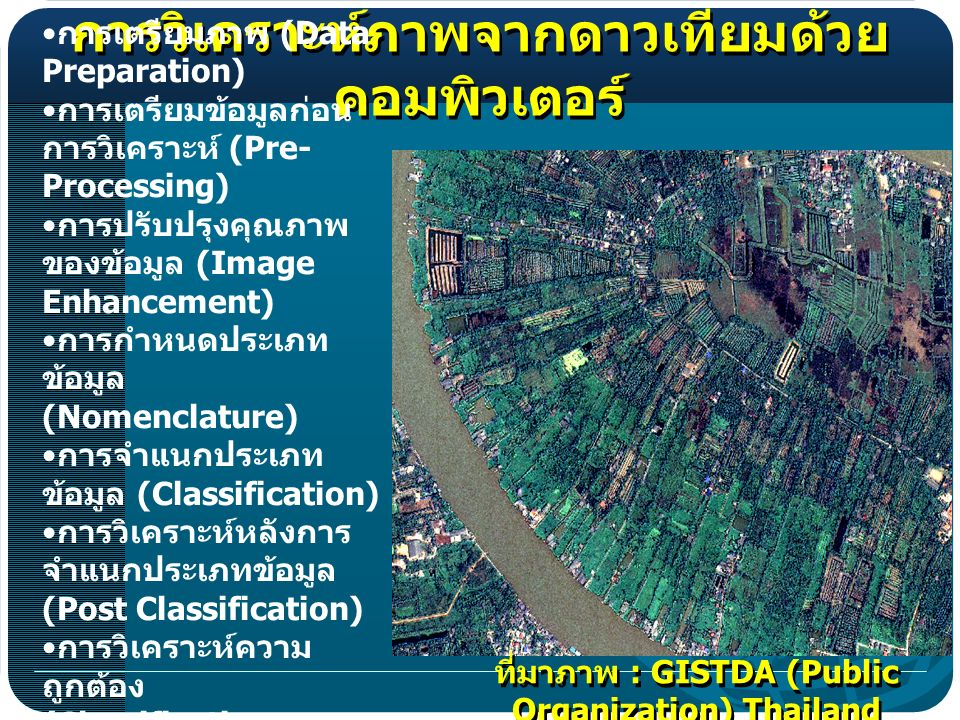 (Data Preparation) (Pre- Processing) (Image Enhancement) (Nomenclature) (Classification) (Post Classification) (Classification Accuracy) : GISTDA (Public Organization) Thailand