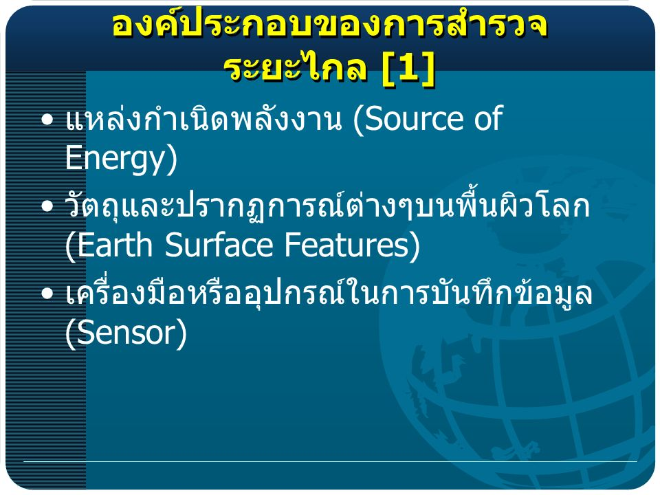 [1] (Source of Energy) (Earth Surface Features) (Sensor)