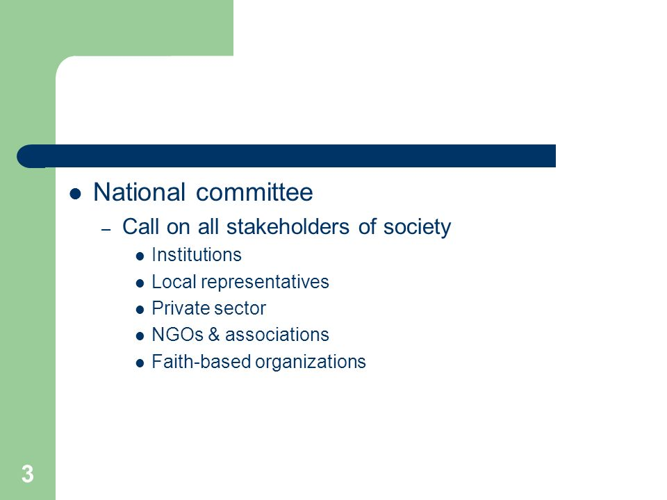 3 National committee – Call on all stakeholders of society Institutions Local representatives Private sector NGOs & associations Faith-based organizations