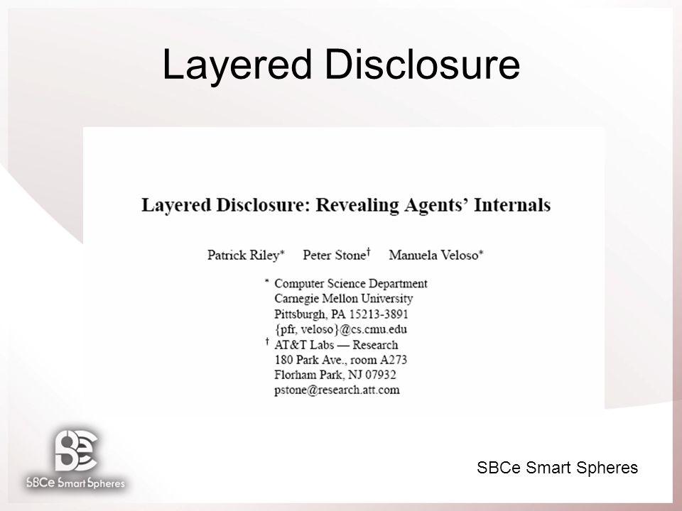 SBCe Smart Spheres Layered Disclosure
