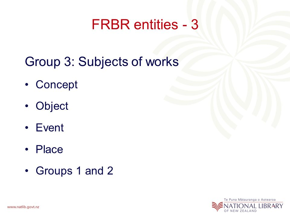 FRBR entities - 3 Group 3: Subjects of works Concept Object Event Place Groups 1 and 2