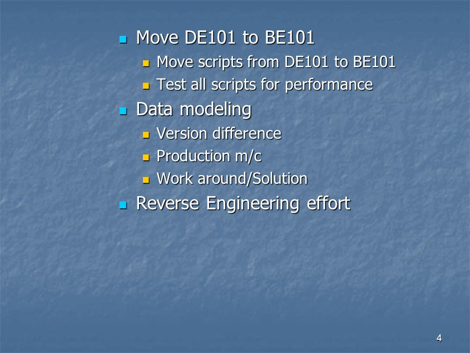 4 Move DE101 to BE101 Move DE101 to BE101 Move scripts from DE101 to BE101 Move scripts from DE101 to BE101 Test all scripts for performance Test all scripts for performance Data modeling Data modeling Version difference Version difference Production m/c Production m/c Work around/Solution Work around/Solution Reverse Engineering effort Reverse Engineering effort